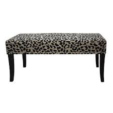 black and taupe cheetah chenille 40 inch bench by hd couture