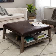 Wood Ottomans Trendy Upholstered Coffee Table Ottomans Cocktail Within Square