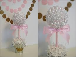 White And Gold Baptism Decorations Pearl Centerpieces White U0026 Pink Pearls Baptism Centerpiece