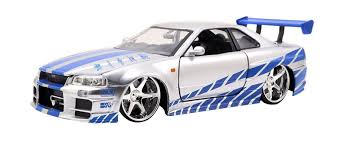 nissan skyline fast and furious 7 jada toys fast u0026 furious 1 24 diecast nissan gt r r34 vehicle