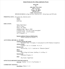 Resume Sample For College by 15 College Application Templates U2013 Free Sample Example Format