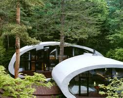 futuristic modern white double oval architecture exterior concept