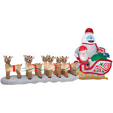 Lighted Sleigh And Reindeer by Gemmy 7 34 Ft X 5 74 Ft Lighted Bumble Christmas Inflatable