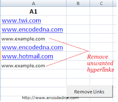 and remove hyperlinks in excel using vba