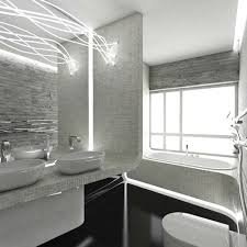 Black Modern Bathroom Bathroom With White Black And Gray Color