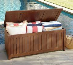 Wood Outdoor Storage Bench Chatham Storage Bench Dark Honey Pottery Barn