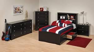 teenage bedroom suites black leather cover bed frame cream wooden