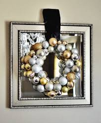 diy silver gold ornament wreath wordless wednesday