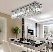 Chandelier Lights For Dining Room Siljoy Rectangular Raindrop Crystal Chandelier Lighting Modern