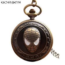 quartz necklace watch images Vintage spiderman antique pocket watch with chain retro bronze jpg