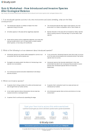quiz u0026 worksheet how introduced and invasive species alter