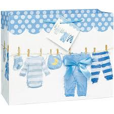 baby shower gift bags clothesline baby shower gift bag 13 x 10 5 in blue 1ct walmart