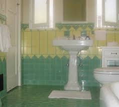 beautiful yellow and mint green vintage tile bathroom from the