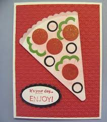 pizza punch art card stamping with lynn