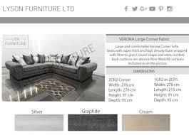 verona corner sofa chesterfield fabric graphite or silver grey