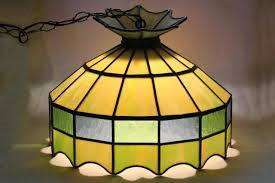 Retro Hanging Light Fixtures Leaded Glass Shade Light Fixture Green Stained Pendant Within