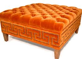 Orange Ottoman Intriguing Idea Of Putting Nailhead Trim In A Pattern Lots Of
