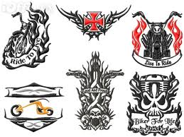 biker tribal tattoo embroidery designs set for sale