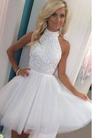 white halter homecoming dresses beading pretty graduation dresses