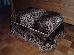ottoman covered with leopard print fabric diy