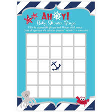 baby shower bingo nautical baby shower bingo cards by m h invites and hill