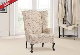 French Wingback Chair Wing Chair Slipcover In French Inspired Stretch Pen Pal