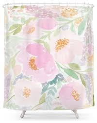 society6 peach garden floral watercolor shower curtain