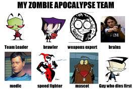 Zombie Team Meme - my zombie apocalypse team meme updated by eleanorchipettelover