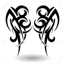 hand drawn tribal tattoo in wings shape royalty free cliparts