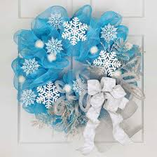 Blue Decorated Christmas Wreaths by Christmas Wreath From Tulle And White Paper Snowflakes