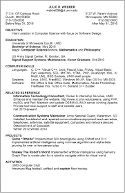 Internship Resume Sample For College Students Resume For Computer Science Internship Free Resume Example And