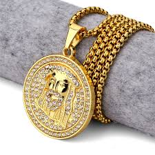 aliexpress buy nyuk mens 39 hip hop jewelry iced out new golden jesus pendant necklace iced out medallion