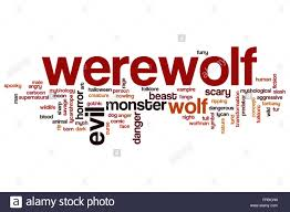 werewolf word cloud concept with wolf monster related tags stock