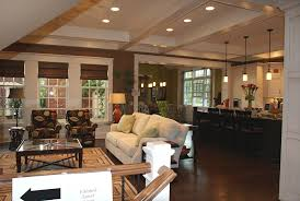 classic home design featuring living room and kitchen open floor
