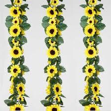 flower garland 6ft artificial uv protected yellow sunflower silk flower garland