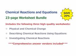 Worksheet Word Equations Describing Chemical Reactions Using Equations Worksheet By