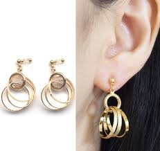 gold clip on earrings invisible clip on gold hoop earrings dangle metallic silver circle