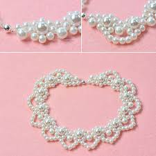 pearl flower necklace images How to make elegant white pearl flower statement necklace for wedding jpg