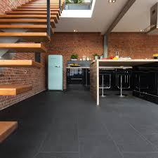 Best Flooring For Kitchen by Kitchen Floor Black Stone Tile Vinyl Brick Wall Black Cabinets