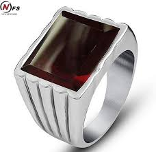 metal stone rings images Sales simple design red stone ring for men 316l stainless steel jpg
