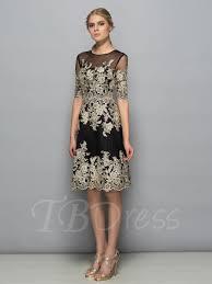 half sleeves scoop sheath appliques knee length formal dress