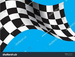 Blue White And Black Flag Checkered Flag Flying On Blue Background Stock Vector 560043589