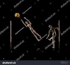wooden manikins wooden manikins ukrainian colored football stock photo