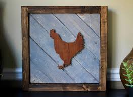 rustic wood artwork original acrylic painting farm animal wall whimsical chicken