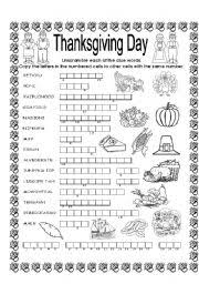 worksheet puzzle thanksgiving