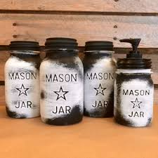 Rustic Kitchen Canisters Vintage Mason Jar Canisters Rustic White Mason Star Jars Mason
