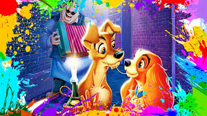 painting lady and the tramp coloring book pages for kids paint