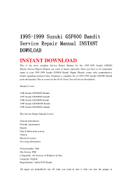 1995 1999 suzuki gsf600 bandit service repair manual instant download