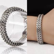bracelet man silver stainless steel images Luxury brand stainless steel bracelet men women jewelry gift jpg