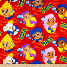 bubble guppies fleece red discount designer fabric fabric com